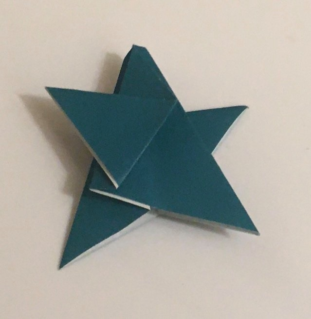 5-Pointed Star:  Turquoise 2 inch square kami. Folder: Lisa B. Corfman. Folded: August 9, 2020.