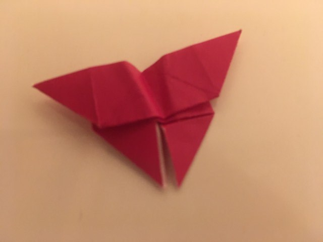 Butterfly: Magenta 2 inch square kami. Folder: Lisa B. Corfman. Folded: August 9, 2020.