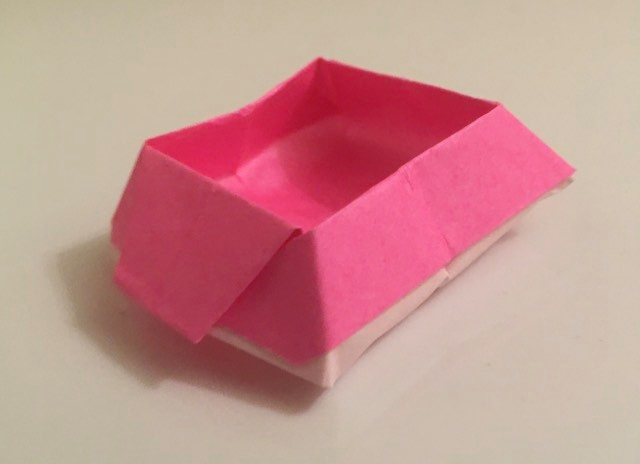 Candy BoxL Pink-White 3 inch square kami. Folder: Lisa B. Corfman. Folded: August 9, 2020.