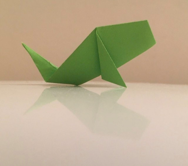 Carp: Green-White 2 inch square kami. Folder: Lisa B. Corfman. Folded: August 9, 2020.
