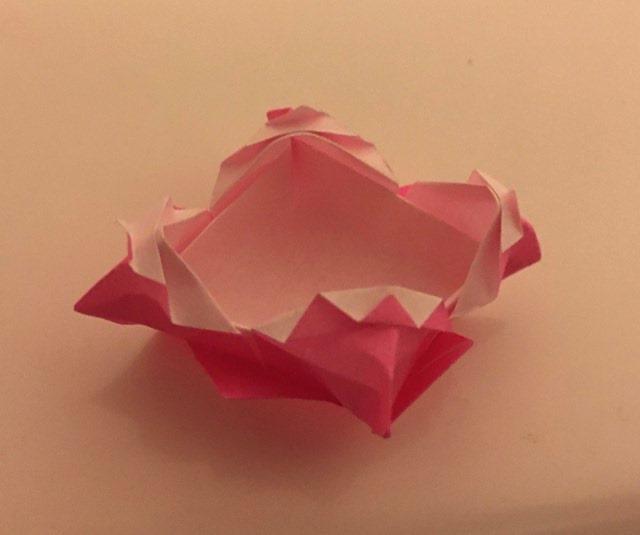Fancy Box: Pink-White 3 inch square kami. Folder: Lisa B. Corfman. Folded: August 9, 2020.