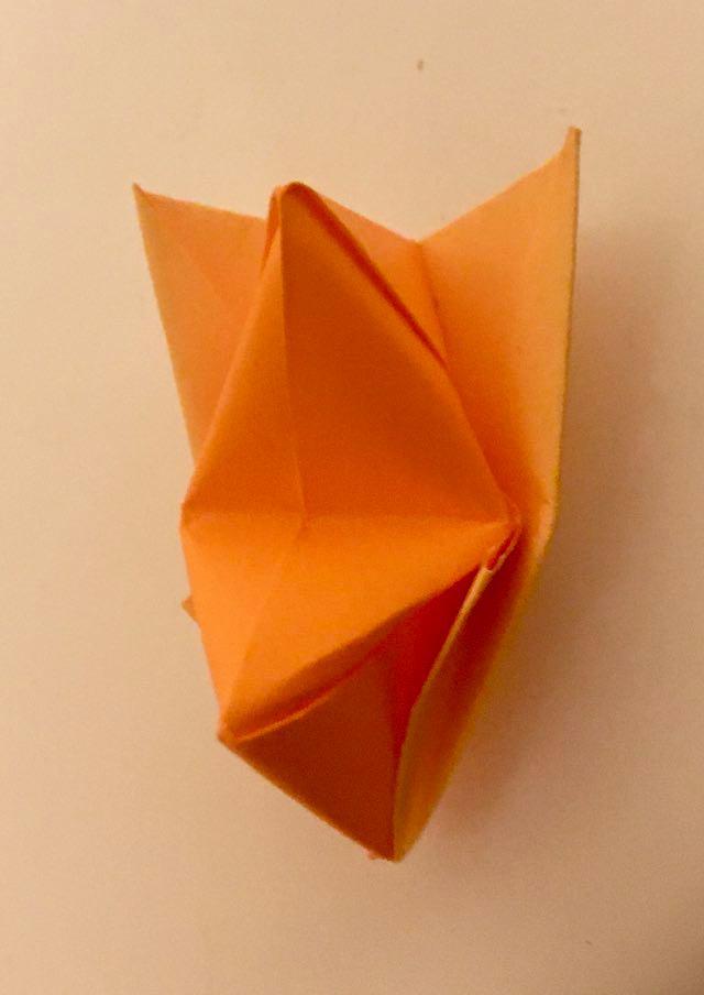 Fox: Orange-Tan 3 inch square kami. Folder: Lisa B. Corfman. Folded: August 9, 2020.