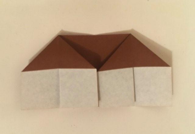 House: Brown-White 2 inch square kami. Folder: Lisa B. Corfman. Folded: August 9, 2020.