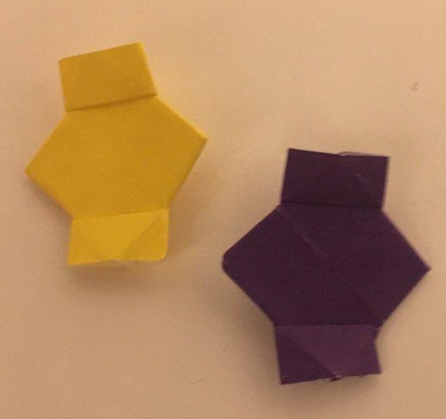 2 Lanterns: 2 inch square purple and 2 inch square yellow kami. Folder: Lisa B. Corfman. Folded: August 9, 2020.