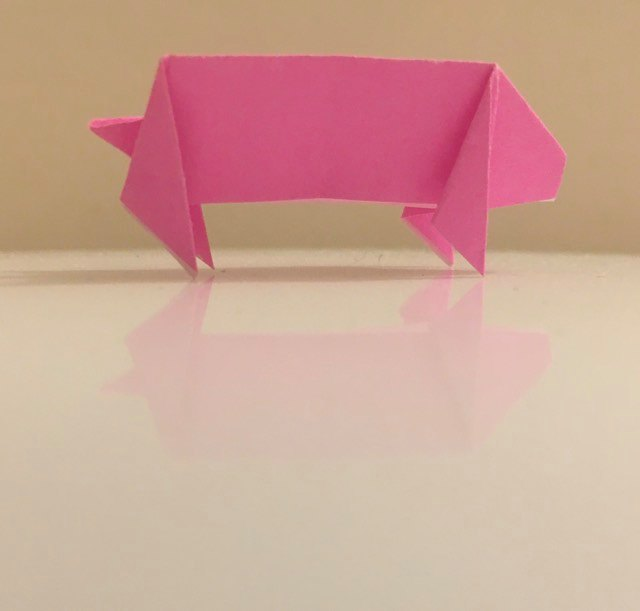 Pig: Pink 2 inch square kami. Folder: Lisa B. Corfman. Folded: August 9, 2020.