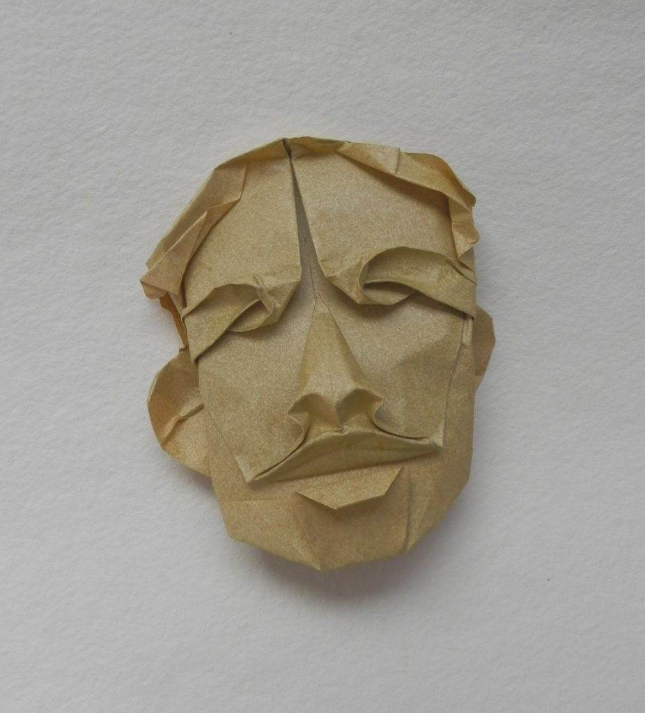 DREAMER MASK 2020 (Elephant Hide paper, 9 x 10 x 5 cm) The paper has the will of its own and listens only with one ear. Each time I set to fold this mask, a new face appears. Different paper, different moods, different days in the year, all make an impact. The effect is close to squashing paper - no two hands can make the same result.